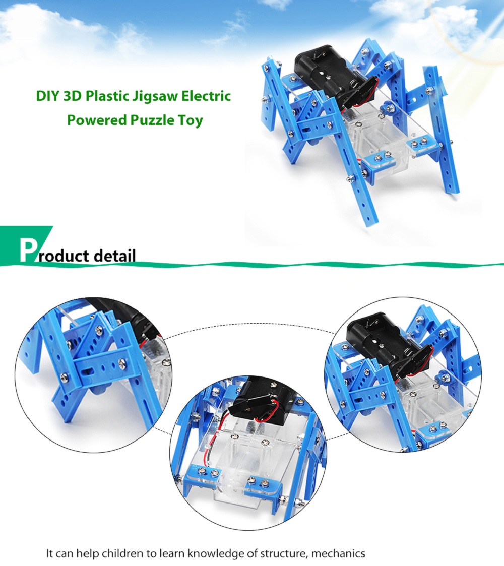 PXWG DIY Plastic Puzzle Robot Style Electric Powered Energy-saving Toy