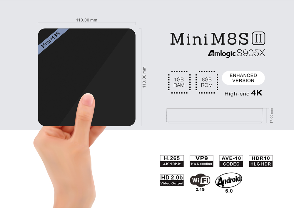 Mini M8S II 4K Inteligente TV Box Amlogic S905X de Quad Core Procesador