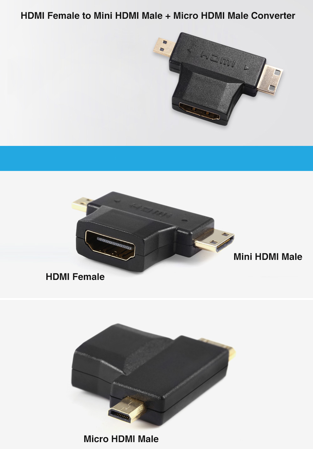 HDMI Female to Mini HDMI Male + Micro HDMI Male Adapter Converter