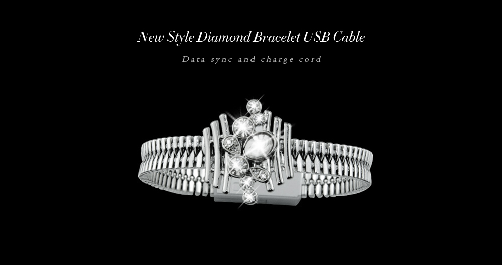 Tamesdo Diamond Wrist Bracelet 8 Pin USB Data Sync Charging Cable
