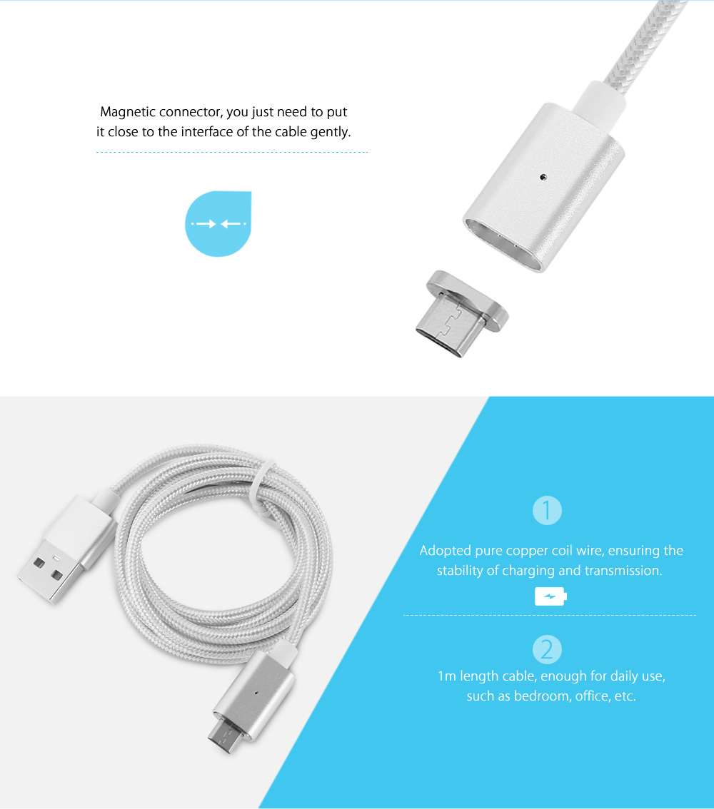 Gearbest 1m Magnetic Micro USB Cable