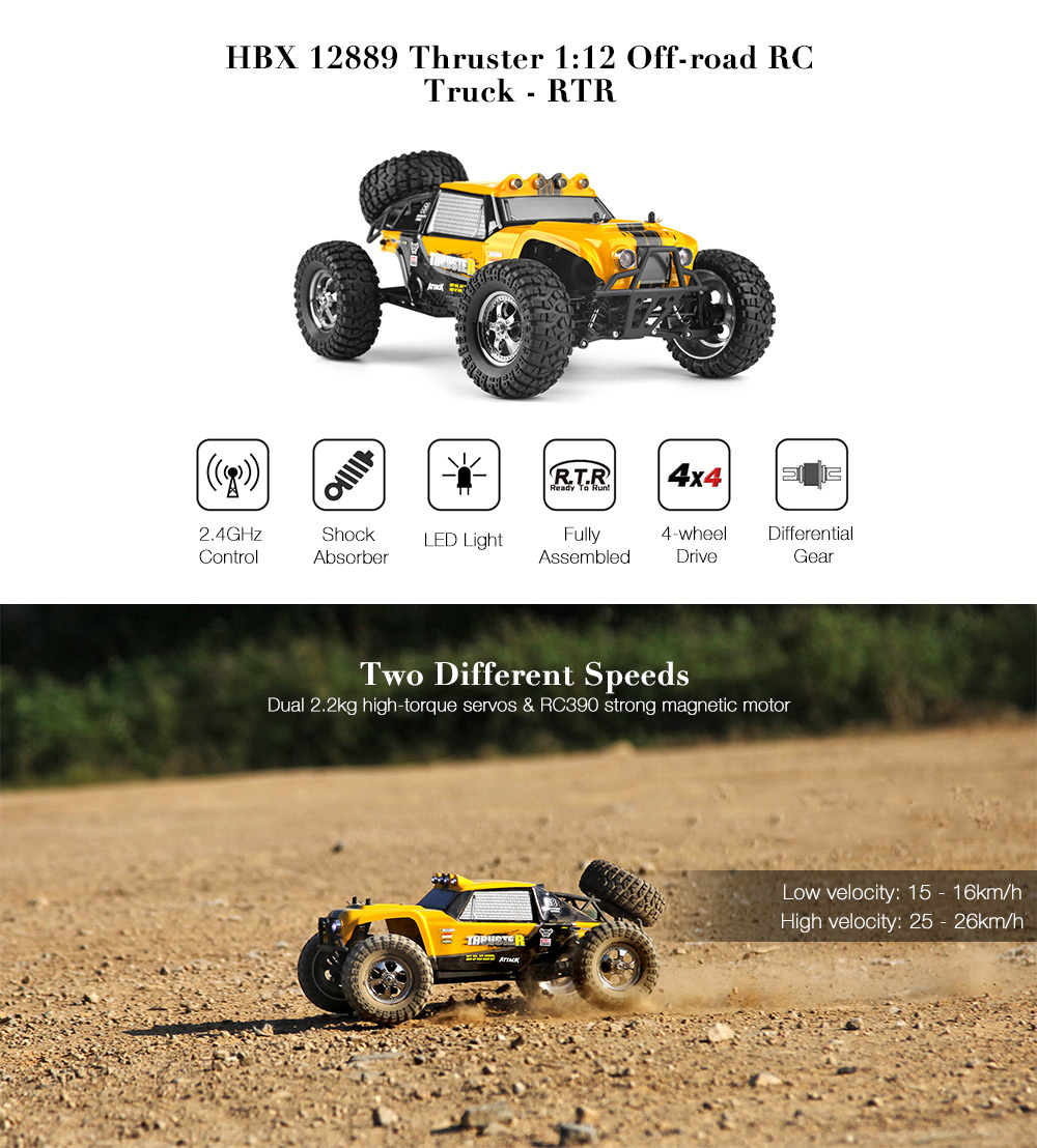 HBX 12889 Thruster 1:12 RC Off-road Truck RTR High Low Speed / 2.4GHz 4WD / Dual Servos- Yellow
