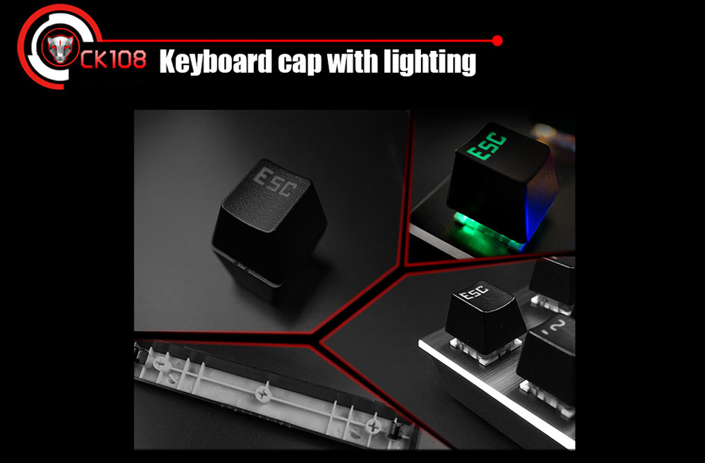 Motospeed CK108 USB Wired Gaming Keyboard with 18 Backlight Mode for Desktop- Black BLACK SWITCHES