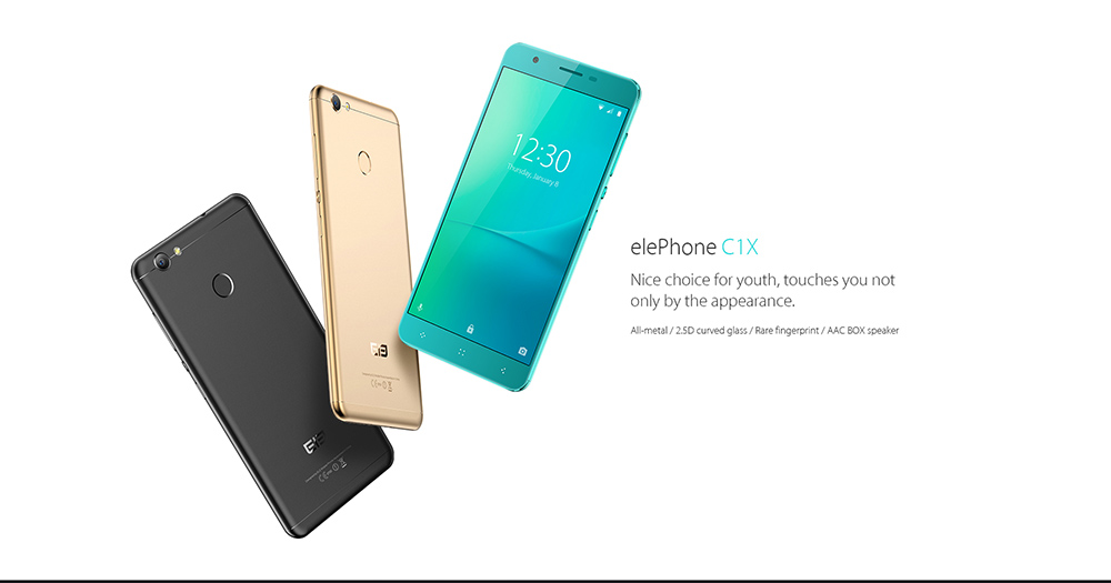 Elephone C1X 4G Phablet Android 6.0 5.5 inch MTK6737 Quad Core 1.3GHz 2GB RAM 16GB ROM AAC Box Speaker Fingerprint Scanner
