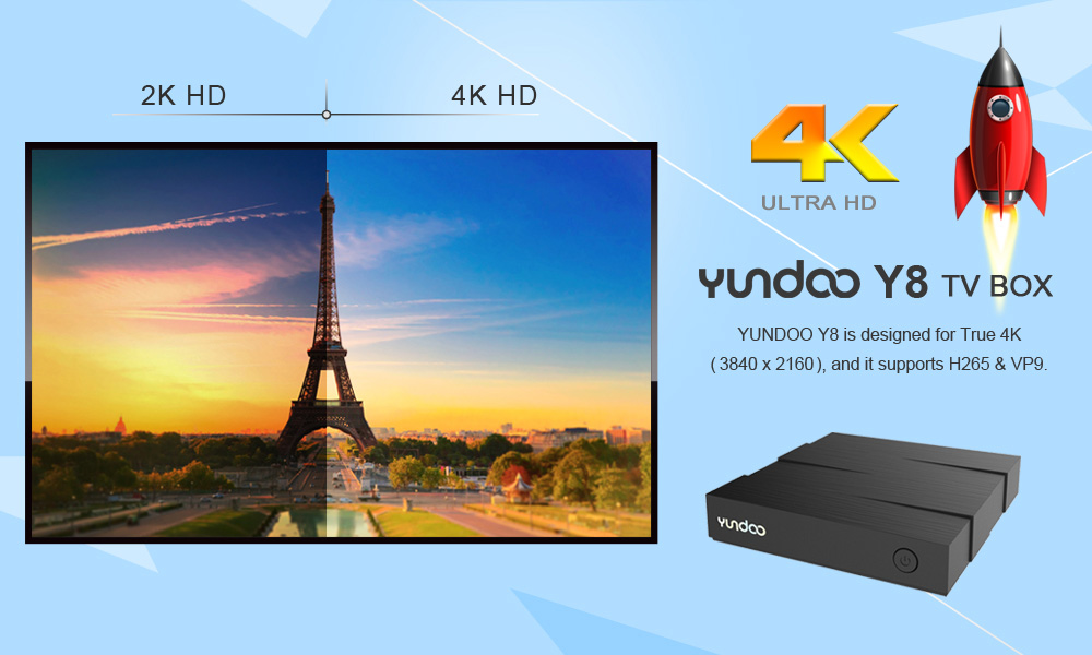 YUNDOO Y8 TV Box ARM Cortex-A72 + ARM Cortex-A53 CPU 64 bit Android 6.0 BT 4.0