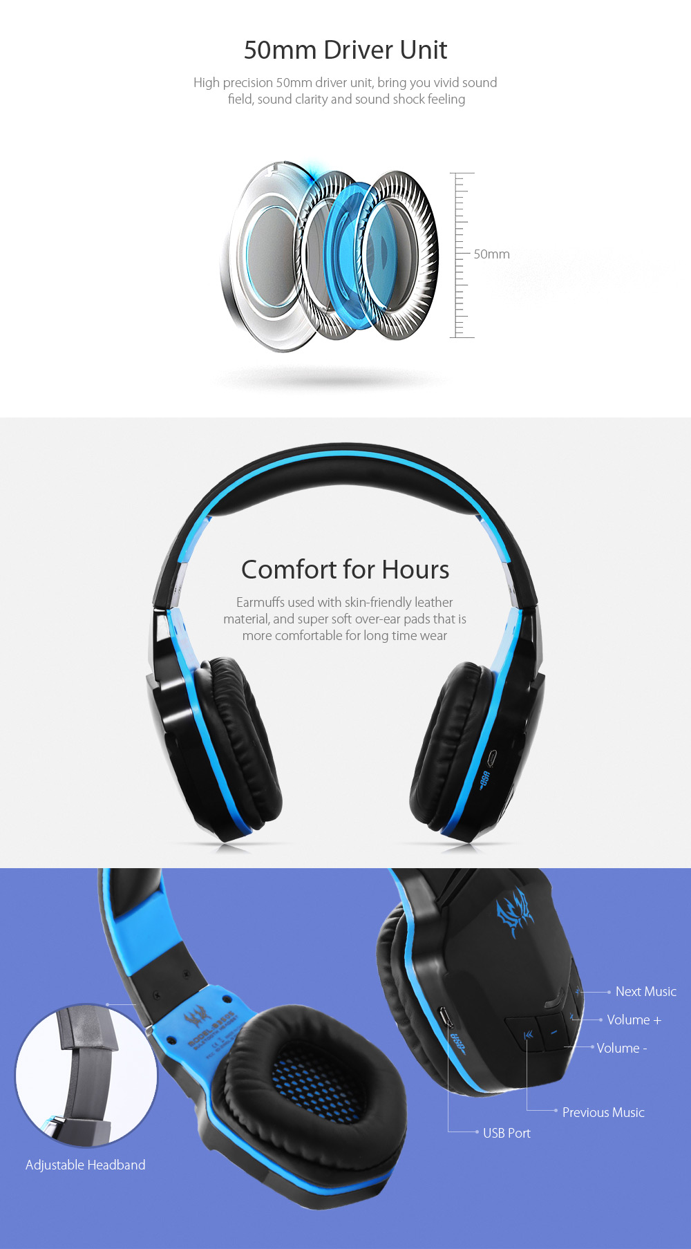 Kotion Each B3505 Wireless Headphones For Pc 2327 Free Shipping Ems Adjustable Headband Green Gold Baby Earmuff Package Contents 1 X Gaming Headset Multilanguage User Manual Usb Cable 60cm 35mm Jack 117cm