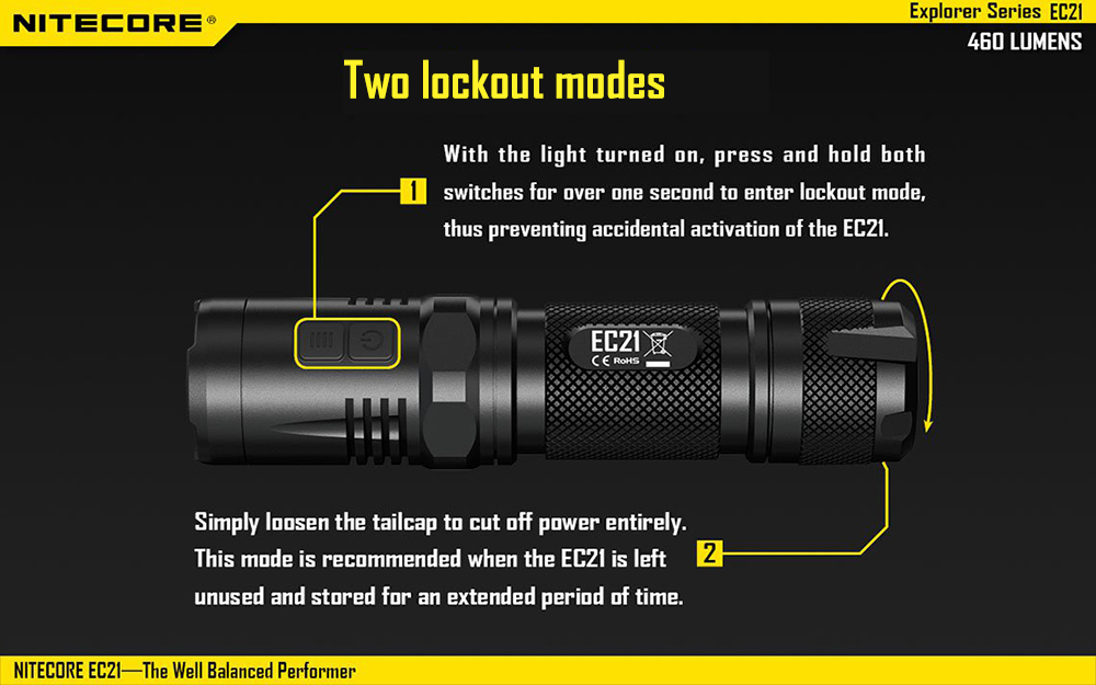 Nitecore EC21 460Lm Cree XP - G2 R5 LED Flashlight Red and White Light