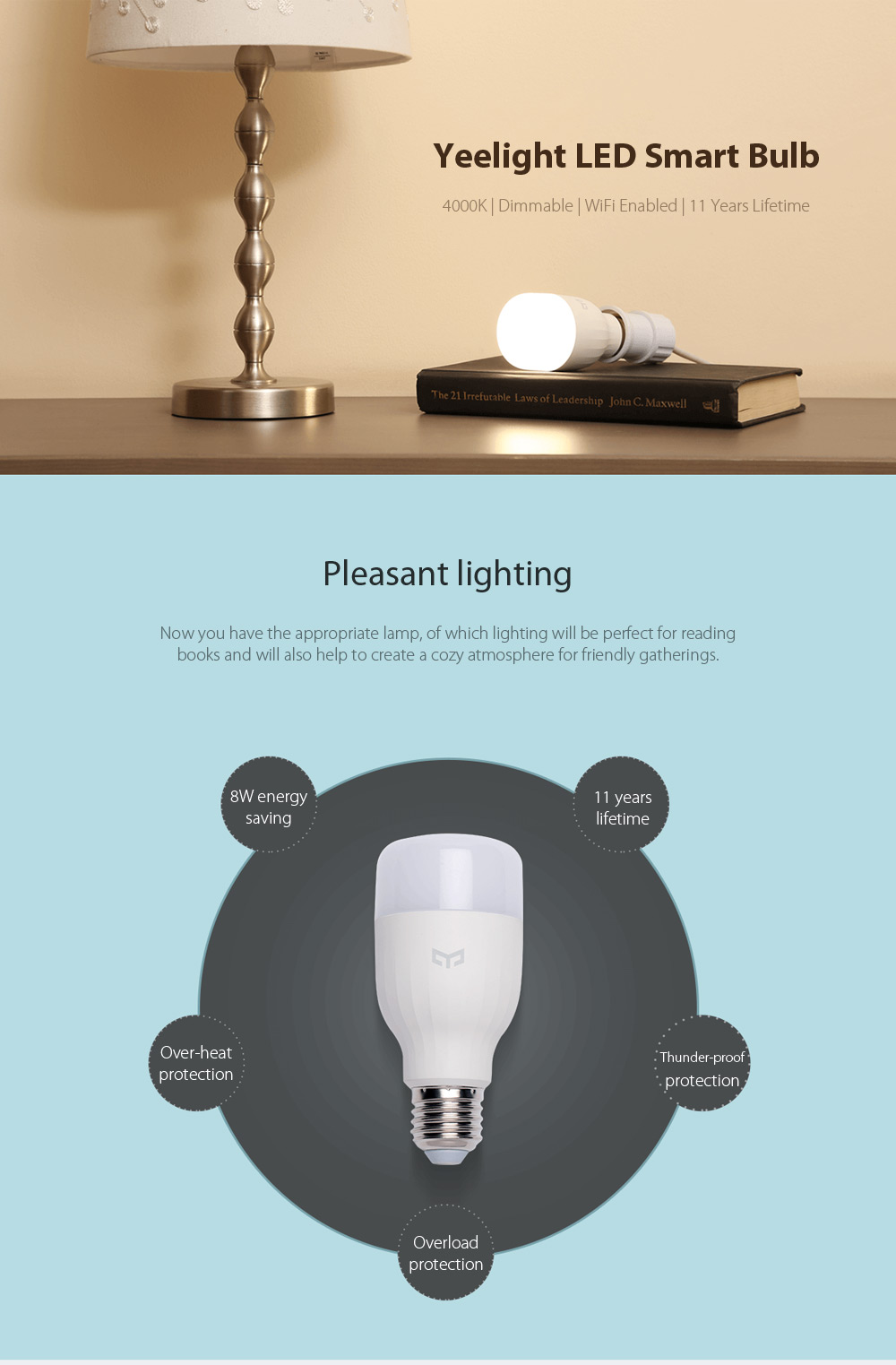 Yeelight E27 Smart LED Bulb WiFi Control Dimmable Thunder-proof Bedside Lamp Support Google Home- White