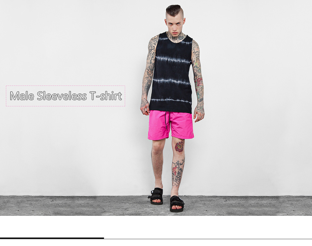 Male Tie-dyed Flash-print Cotton Sleeveless T-shirt Round Collar Vest Tank