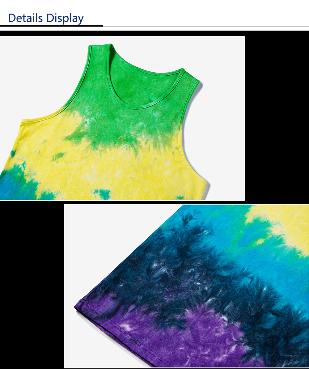Male Oil Painting Gradient-color Tie-dyed Cotton Sleeveless T-shirt Round Collar Vest Tank