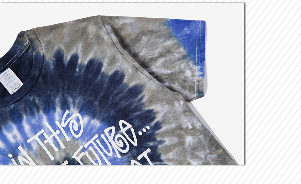 Male Tie-dyed Letter Spiral Pattern Cotton Short Sleeve T-shirt Round Collar Tops