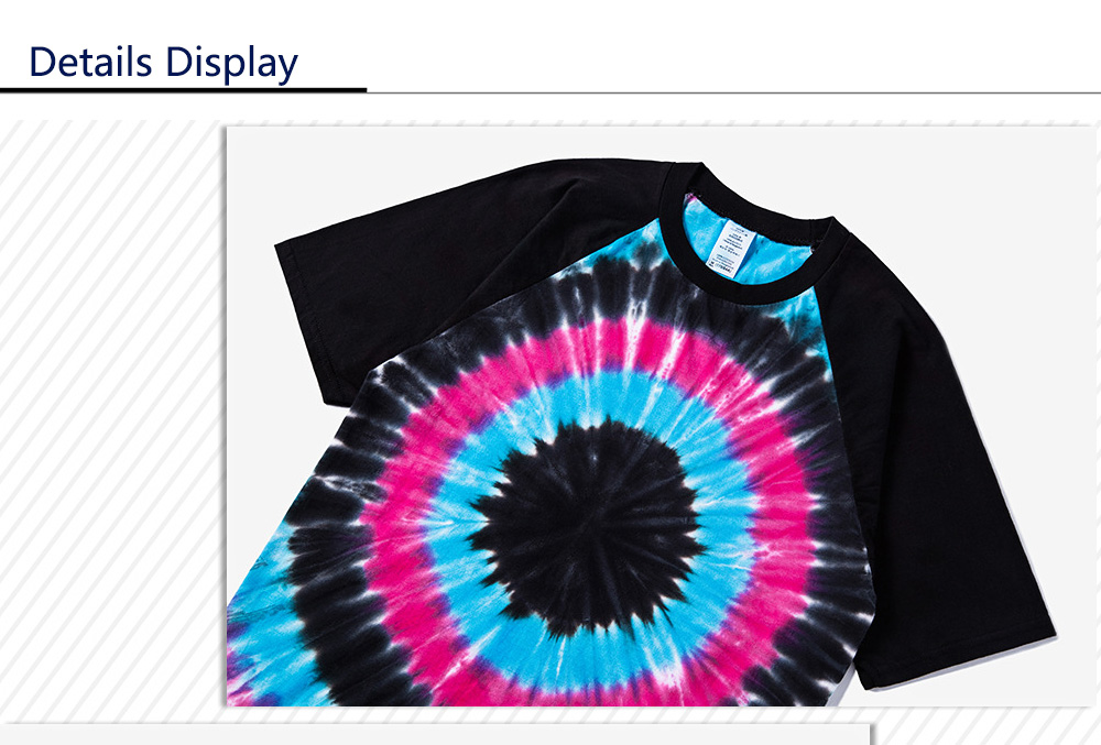 Male Tie-dyed Pattern Gradient-color Cotton Short Sleeve T-shirt Round Collar Tops