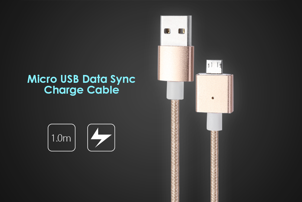 Prompt Magnetic Micro USB Charging Data Sync Cable Detachable Braided Cord - 1m
