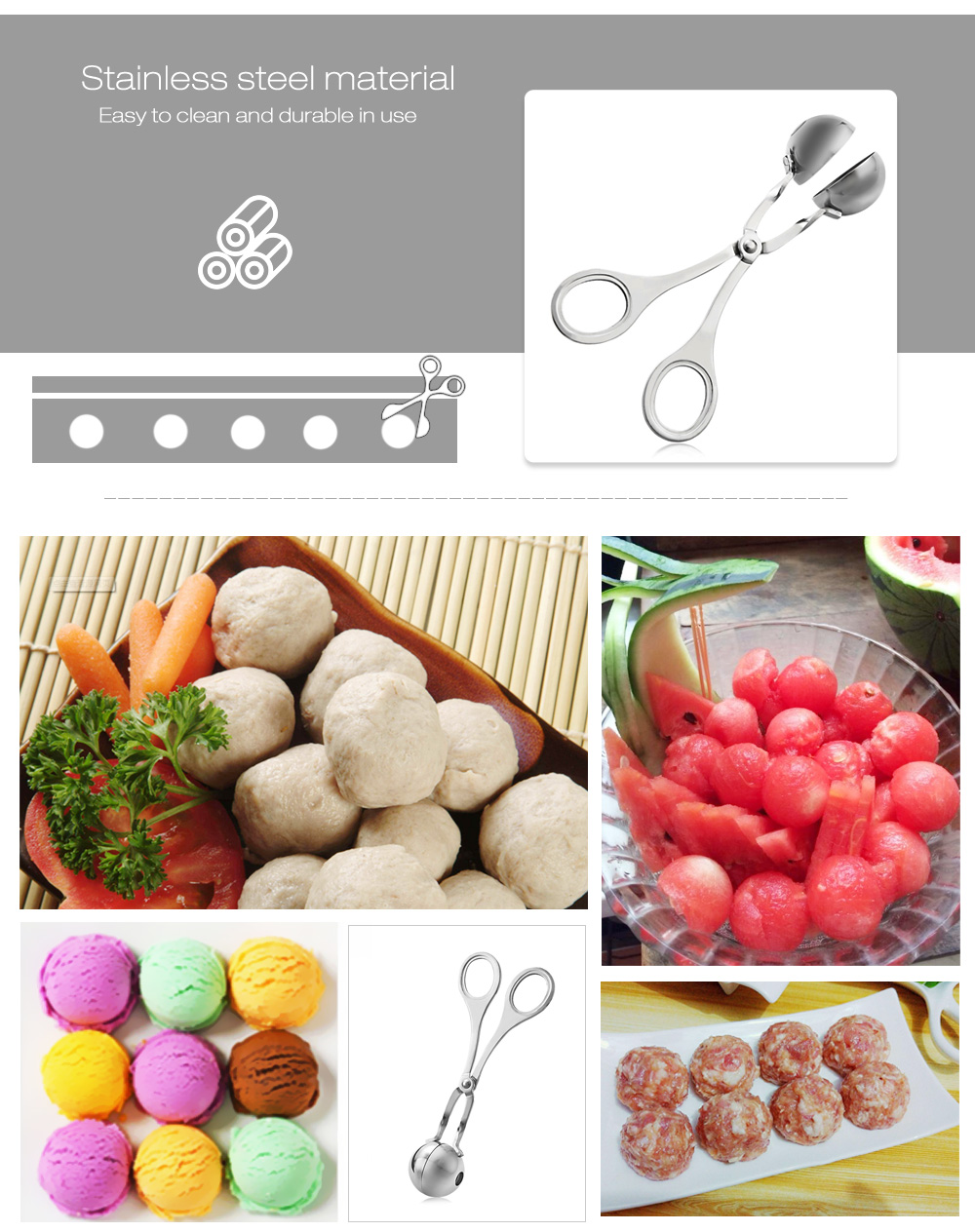 Meatball Mold Stainless Steel Fish Meat Baller- Silver