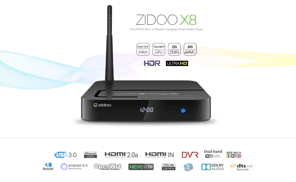 Zidoo X8 Smart TV Box Realtek RTD1295 Quad Core CPU Android 6.0 + OpenWrt Dual OS