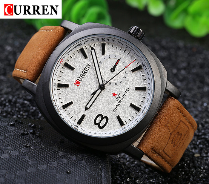 CURREN 8139 Unisex Quartz Watch 1 Arabic Number and Trapezoids Indicate Leather Watchband- Brown Leather Band+White Dial