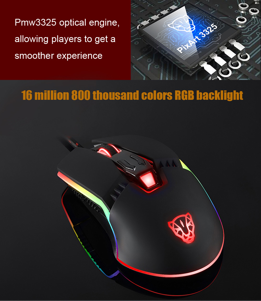Motospeed V20 Professional USB Wired Gaming Mouse with LED Backlit Display