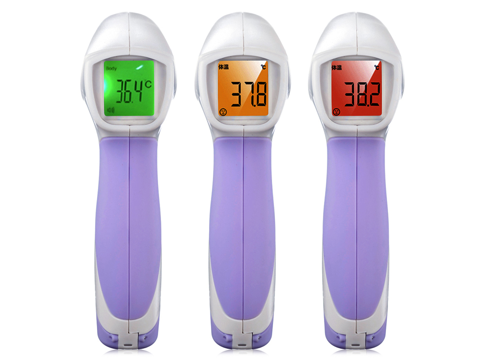 36 Degree HT - 668 Non-contact Infrared Thermometer Forehead IR Body Temperature Measuring Tool- White and Purple
