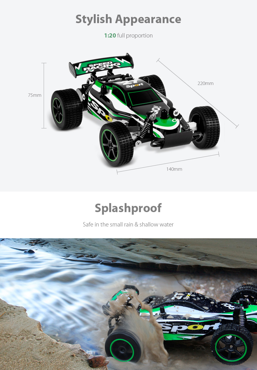 Splashproof / 2.4GHz 2WD / Impact-resistant PVC Shell- Green