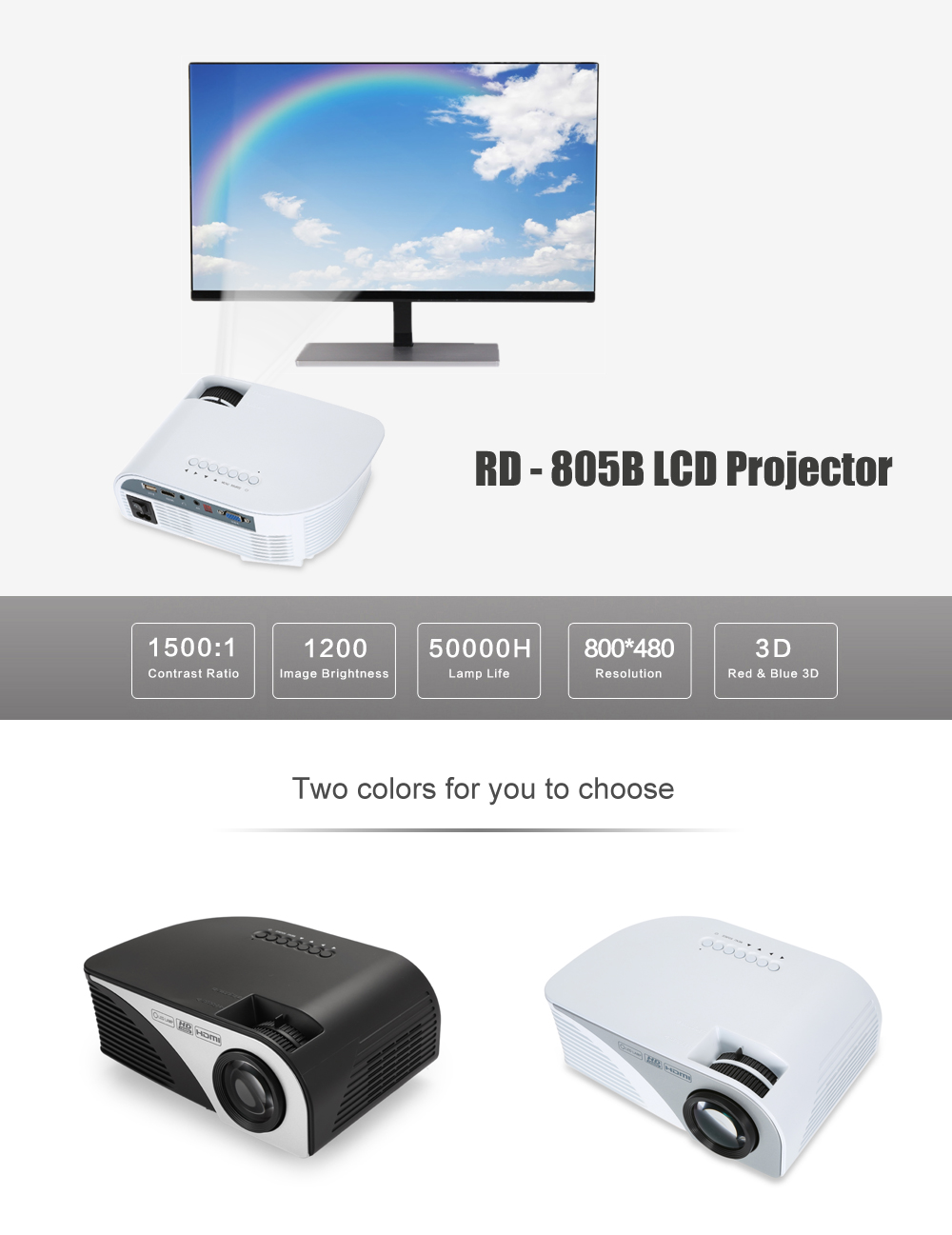 RD - 805B LCD Projector 1200Lm 800 x 480 Pixels 1080P Home Theater