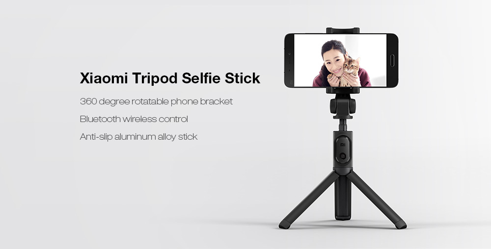 Xiaomi Tripod Mount Holder Selfie Stick Wireless Bluetooth 3.0 Remote Control- Black