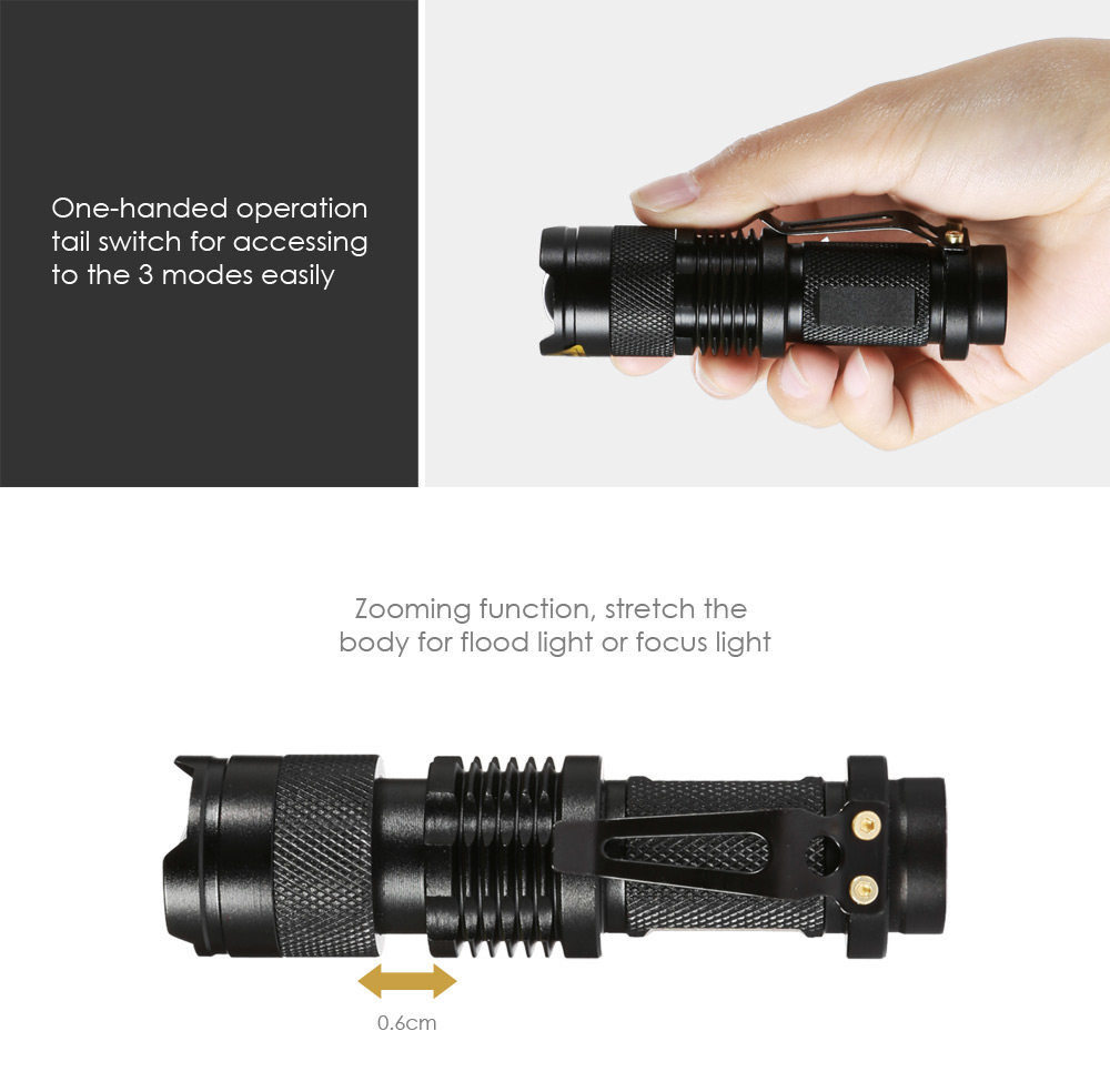 SK68 AA 350Lm Cree Q5 LED Flashlight Adjustable Focus