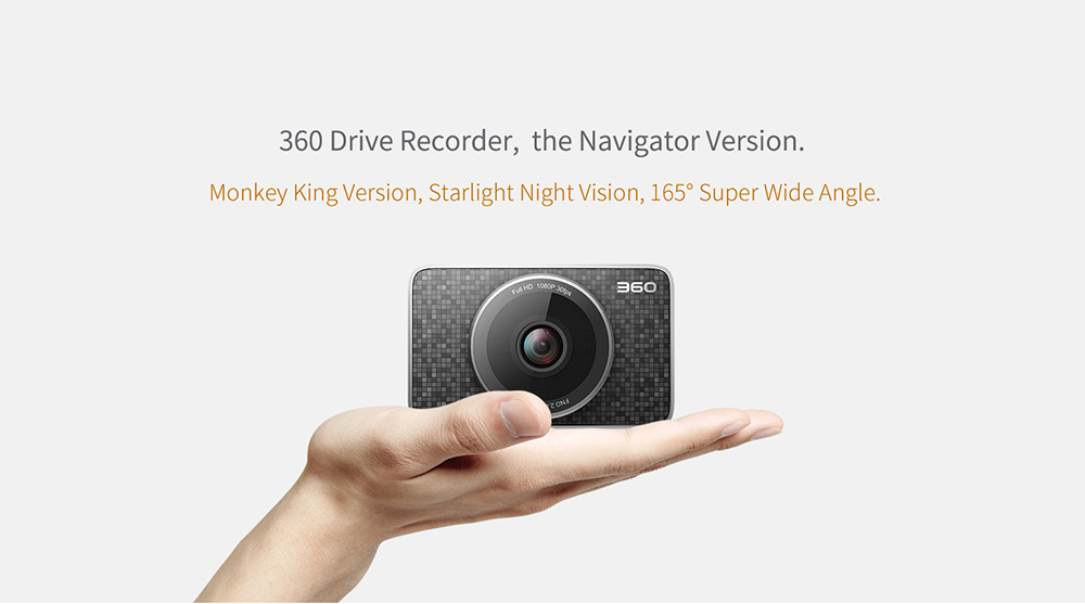360 J511 3.0 inch LCD 1080P Car Digital Video Recorder + TF Card with 165 Degree Wide Angle- Black International Version