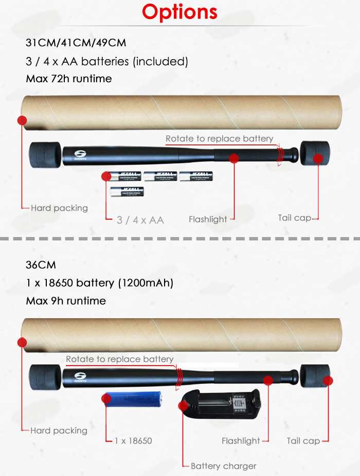 SHENYU Cree XPG 240Lm Outdoor LED Flashlight Baseball Bat Torch- Black 36cm 18650
