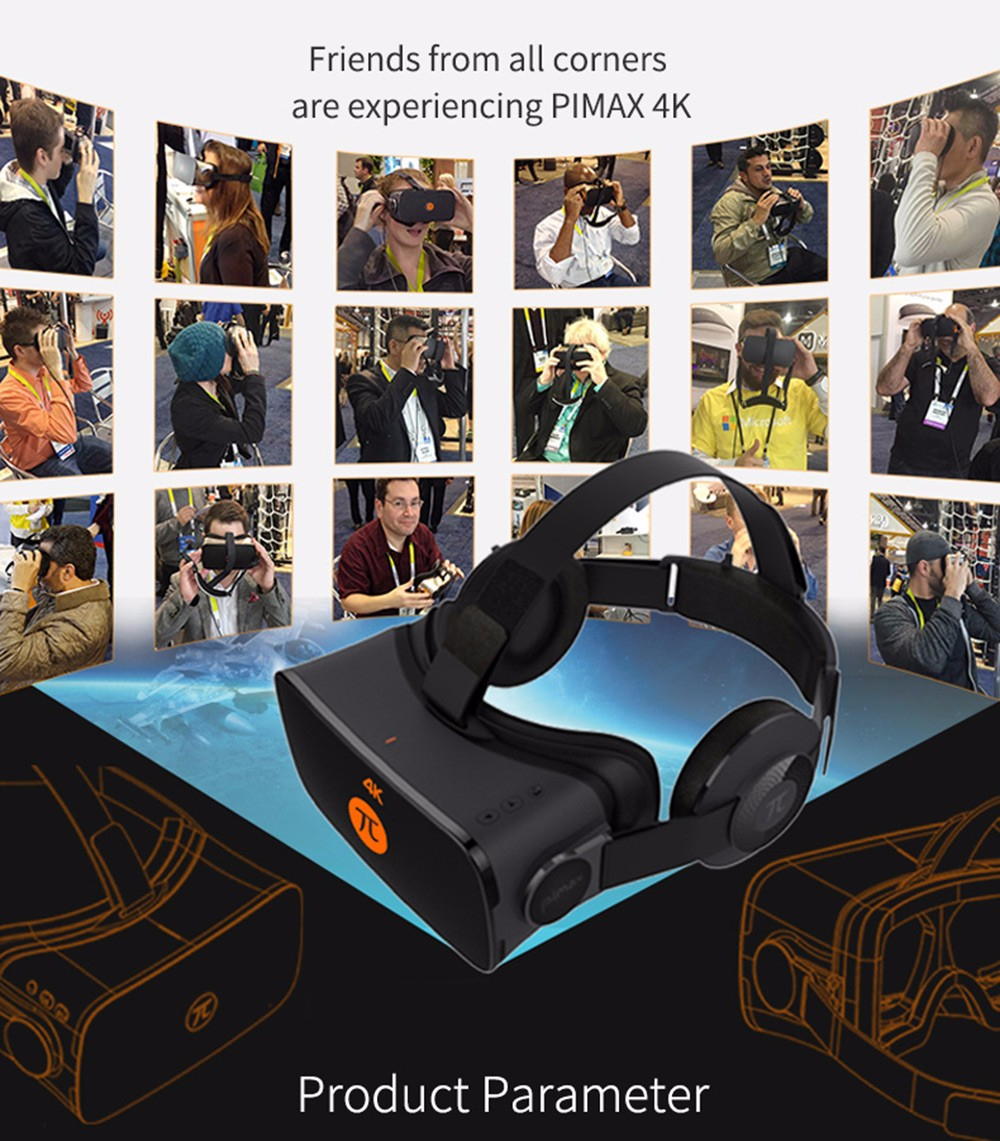 PIMAX 4K VR Virtual Reality Glasses 3D Headset for PC 110 Degree FOV 1000Hz Dual Gyroscope 8.29MP
