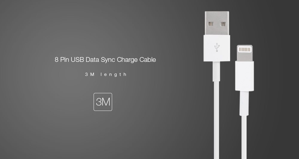3M USB Male to 8-Pin  Data / Charging Cable