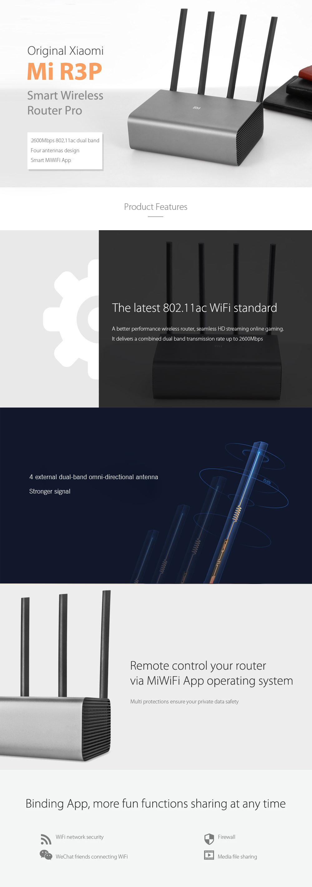 Original Xiaomi Mi R3P 2600Mbps Smart Wireless Router Pro 4 Antenna Dual-band 2.4GHz + 5.0GHz WiFi Network Device