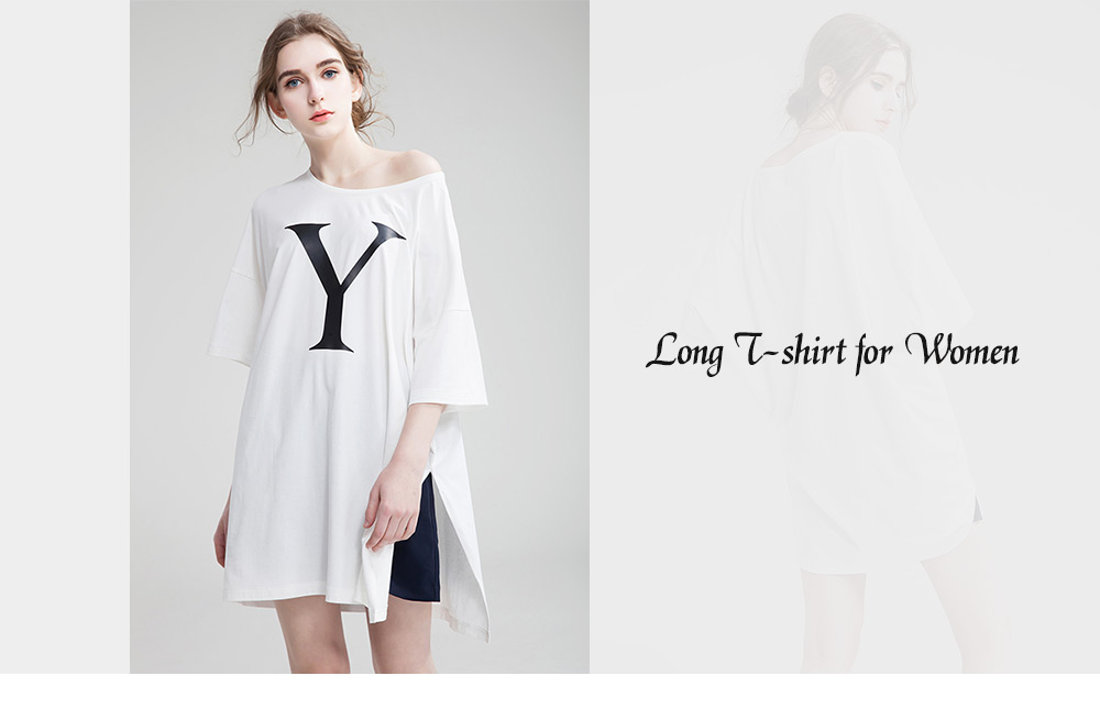 Loose Round Collar Short Sleeve Letter Print Long T-shirt for Women