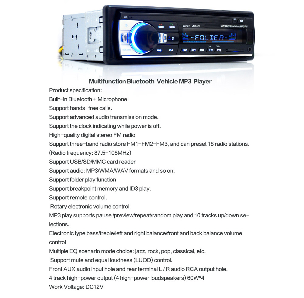 Jsd 520 Bluetooth Car Audio Stereo Mp3 Player Radio 2486 Free Wiring Diagram For Millions Package Contents 1 X Remote Control Wire Installation Tool Set User Manual
