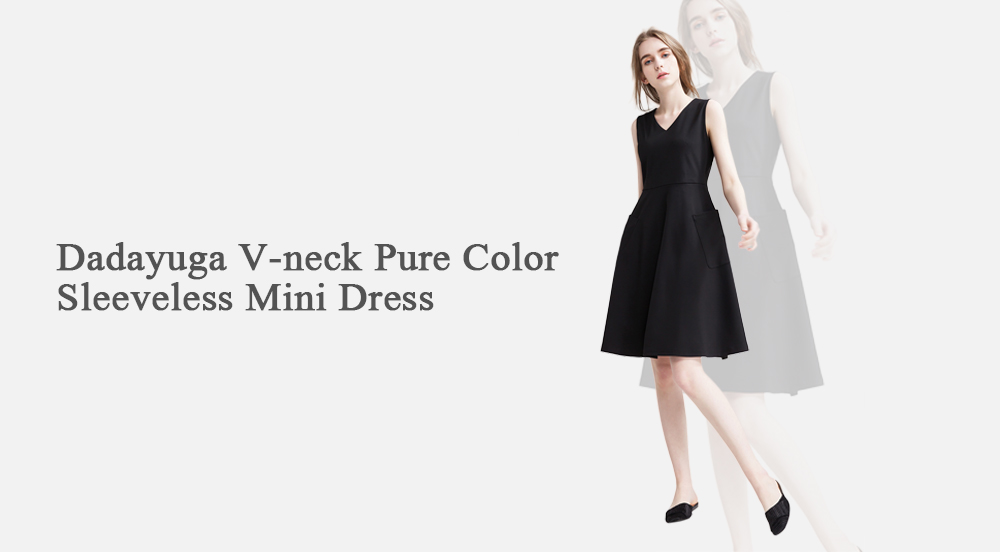 Dadayuga V-neck Pure Color Sleeveless Mini Dress