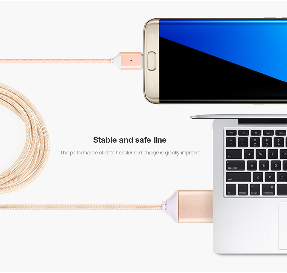 POFAN P11 Magnetic Micro USB Cable LED Prompt Sync Charging Rope