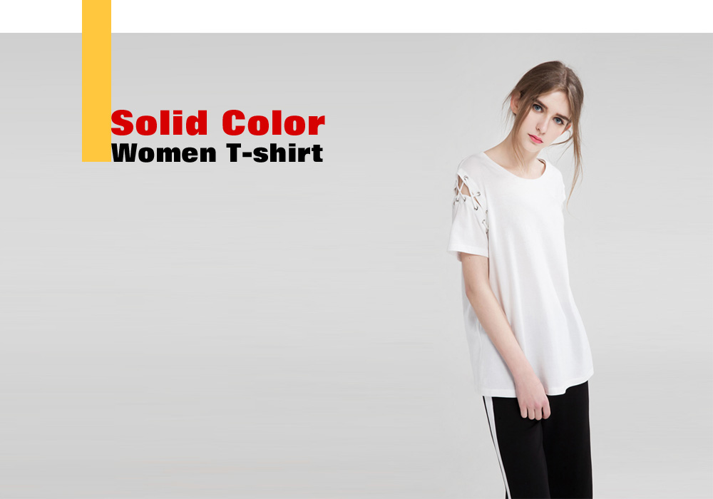 Simple Round Neck Short Sleeve Solid Color Women T-shirt