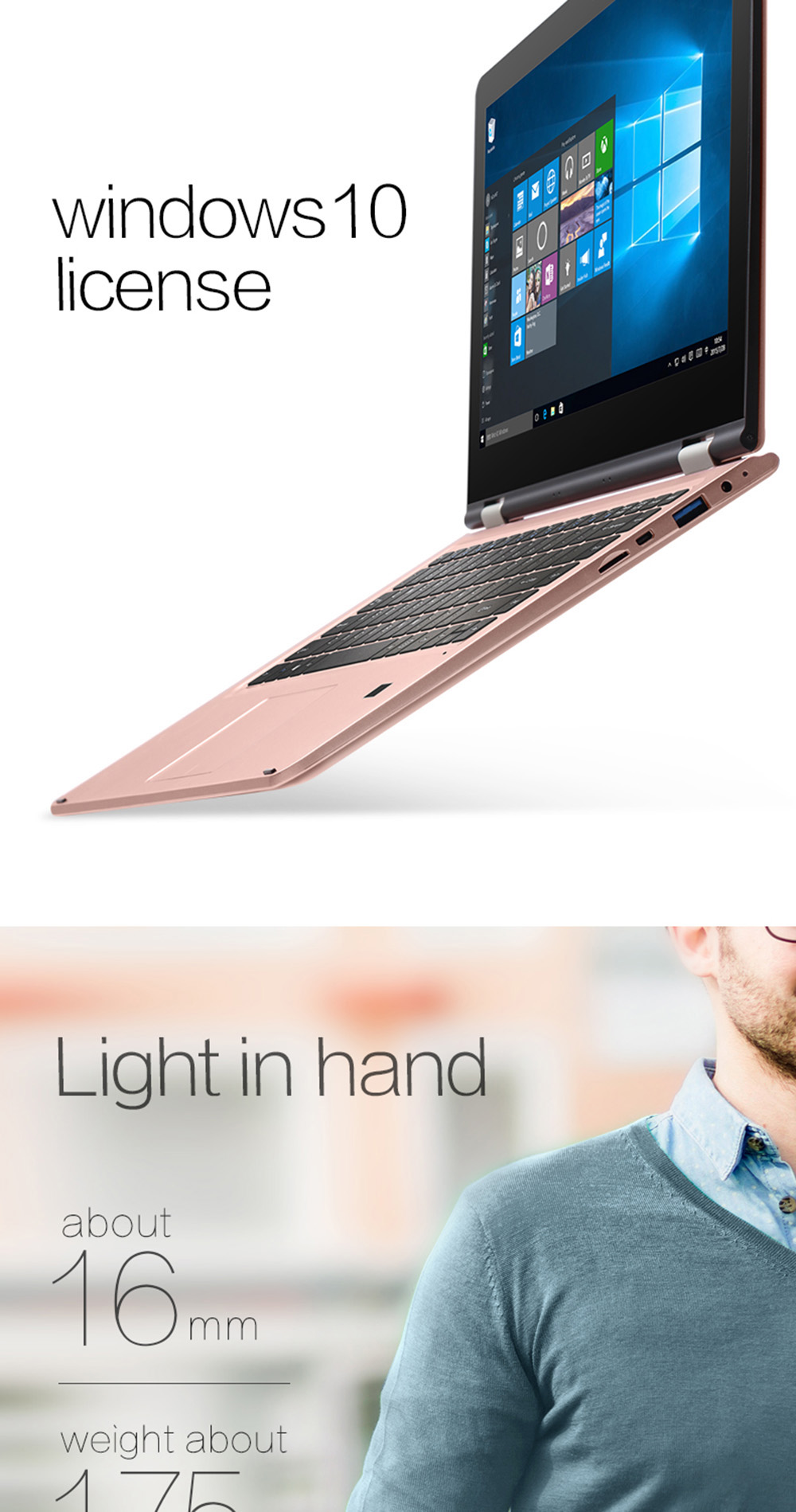 VOYO VBOOK V3 2 in 1 Yoga Notebook 13.3 inch FHD Screen Windows 10.1 6th Gen Intel Core i5-6200U Mobile Processor Dual Core 2.3GHz 4GB RAM 128GB SSD Fingerprint Sensor Dual WiFi HDMI