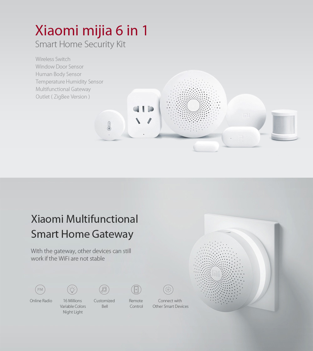 Gearbest Usa Xiaomi Mijia 6 In 1 Smart Home Security Kit 9527 Solar Powered Led Street Light With Auto Intensity Controldiy At Set White