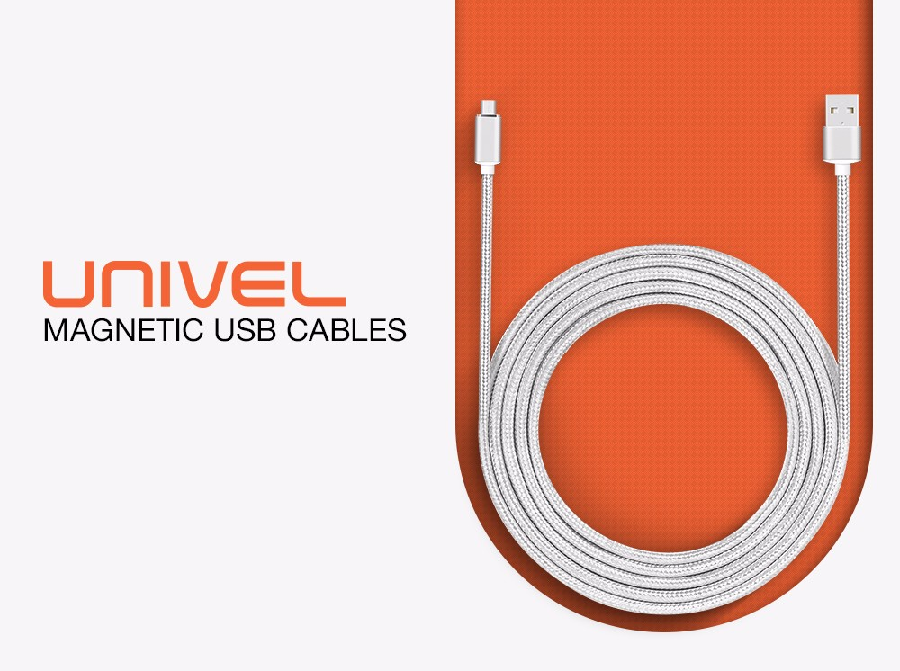 UNIVEL Magnetic Type-C USB Cable LED Prompt Sync Charging Rope Storage Bag