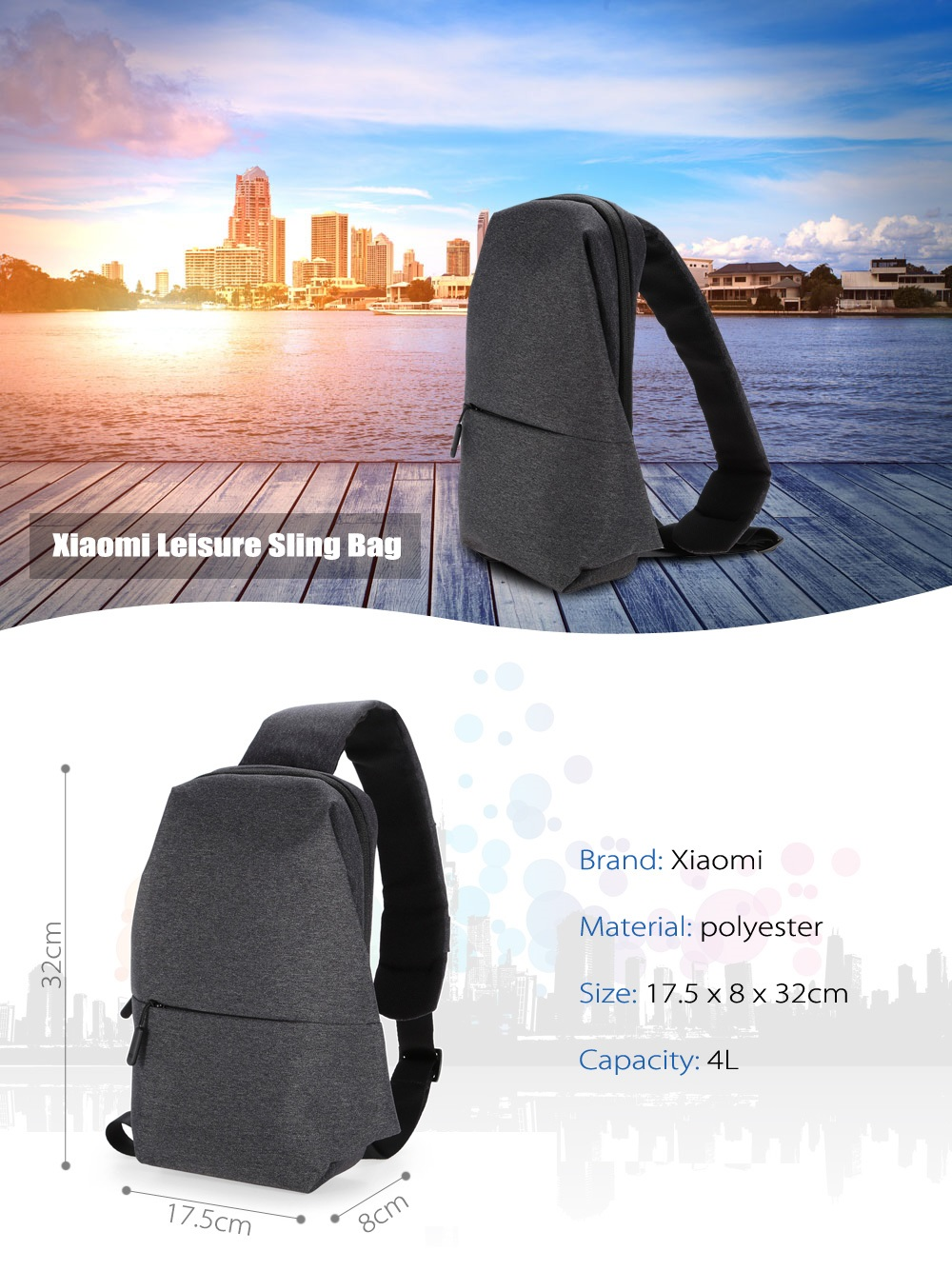 Original Xiaomi 4L Polyester Sling Bag for Leisure Sports- Light Gray
