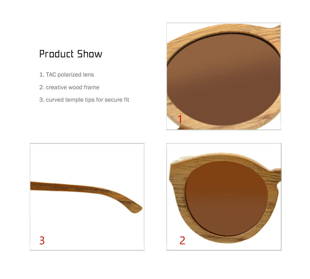 unisex round uv400 wood frame sunglasses with polarized lens - Wood Frame Glasses
