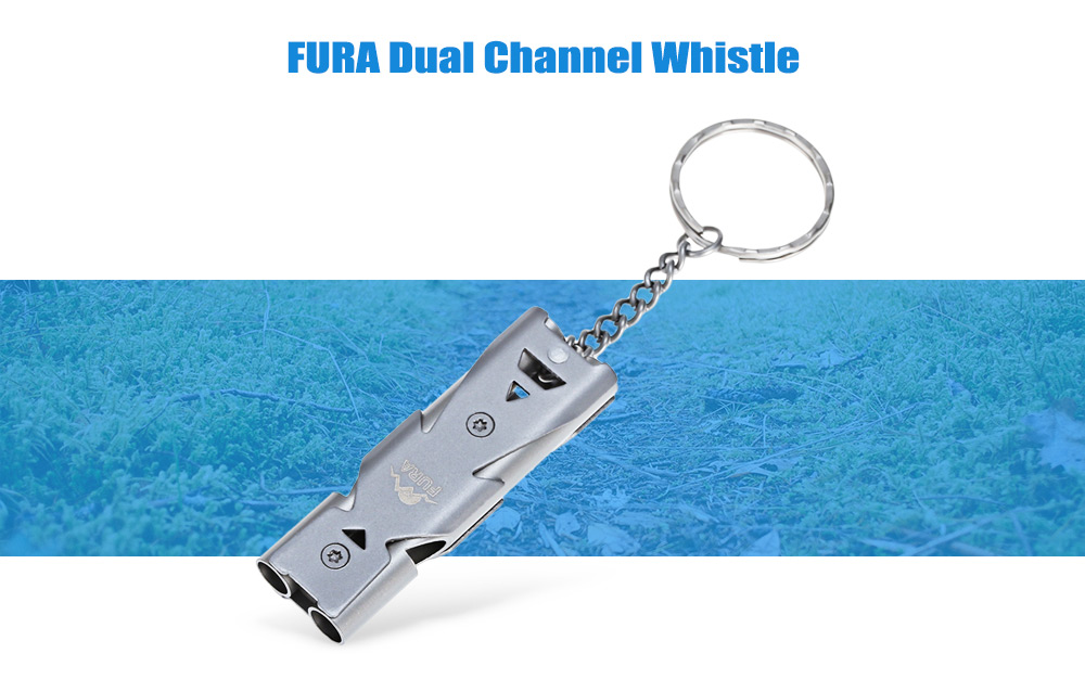 FURA Stainless Steel Dual Channel Whistle with Key Ring for Outdoor Survival