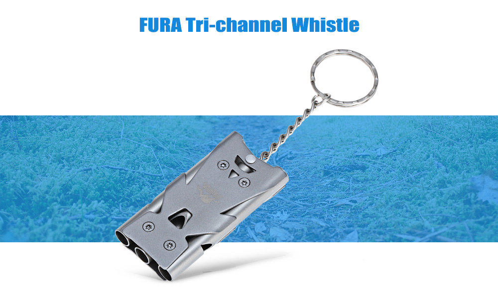 FURA Stainless Steel Tri-channel Whistle with Key Ring for Outdoor Survival