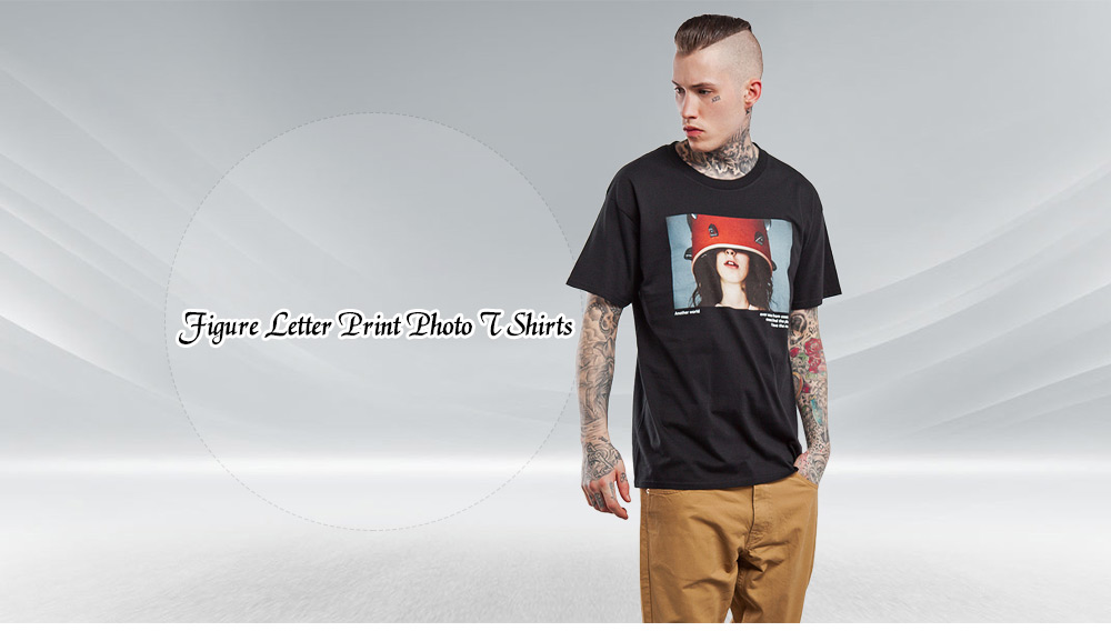 Men Cotton Figure Letter Print Photo T Shirts