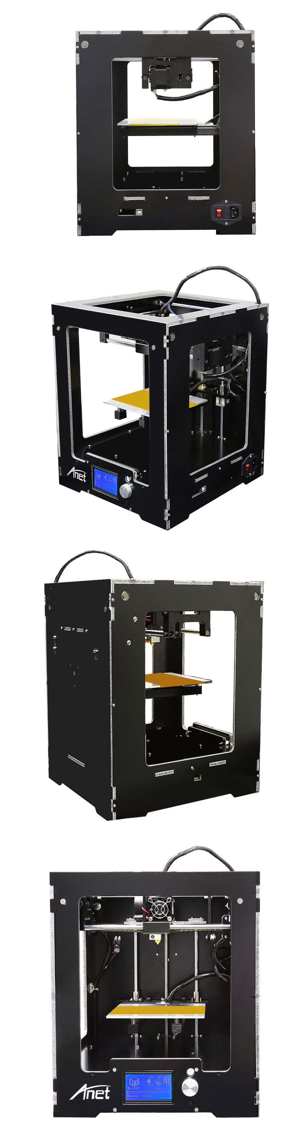 Anet A3 High Precision Full Aluminum Plastic Frame Assembled 3D Printer LCD Display Support 16GB TF Card