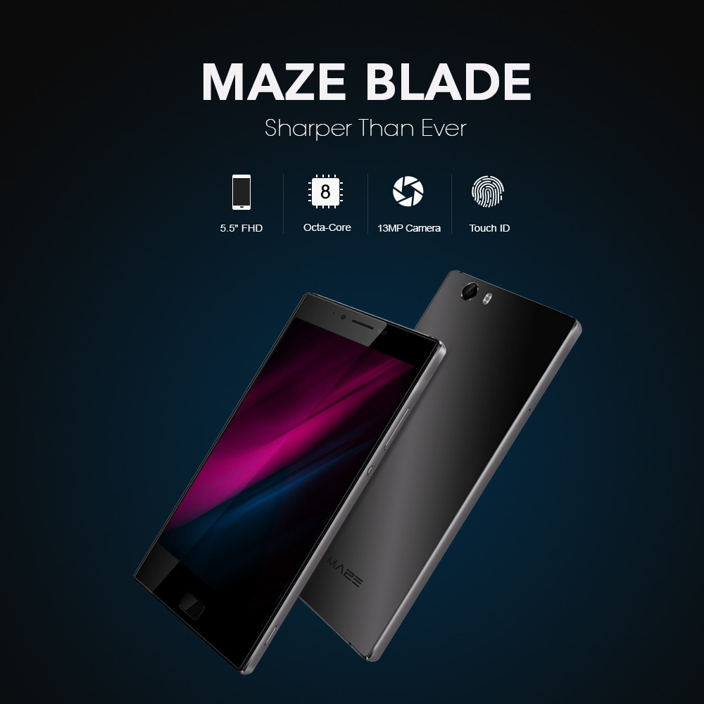 MAZE Blade 4G Phablet Android 6.0 5.5 inch MTK6753 Octa Core 3GB RAM 32GB ROM 8.0MP Front Camera Fingerprint Scanner Hall Sensor OTG