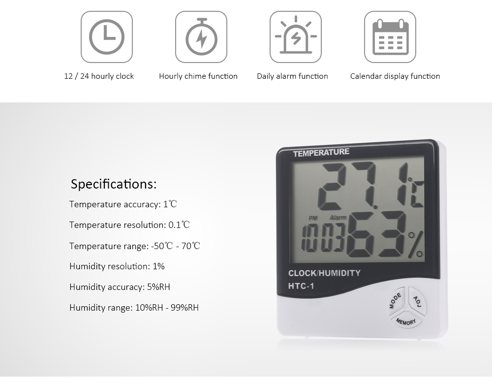 HTC - 1 Digital Electronic Thermometer Hygrometer with LCD Display- White and Black