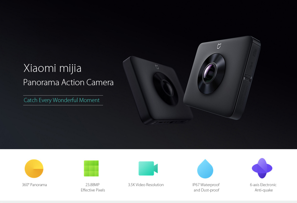 Xiaomi mijia 3.5K 360 Degree Panorama Action Camera Ambarella A12 Chipset