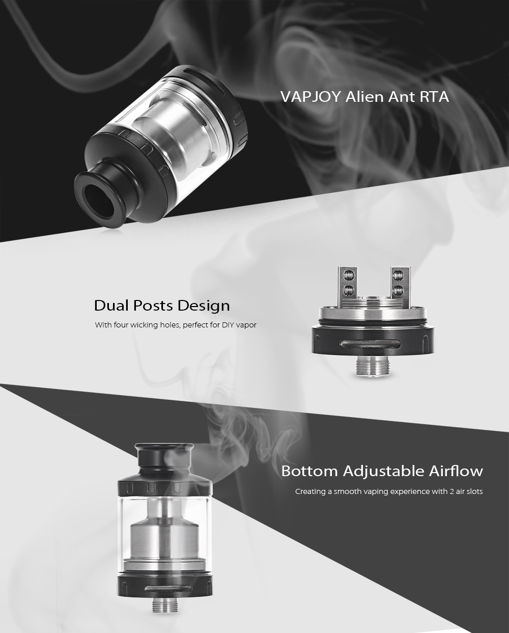 Original VAPJOY Alien Ant RTA with Bottom Adjustable Airflow / Dual Posts / 3.5ml for E Cigarette