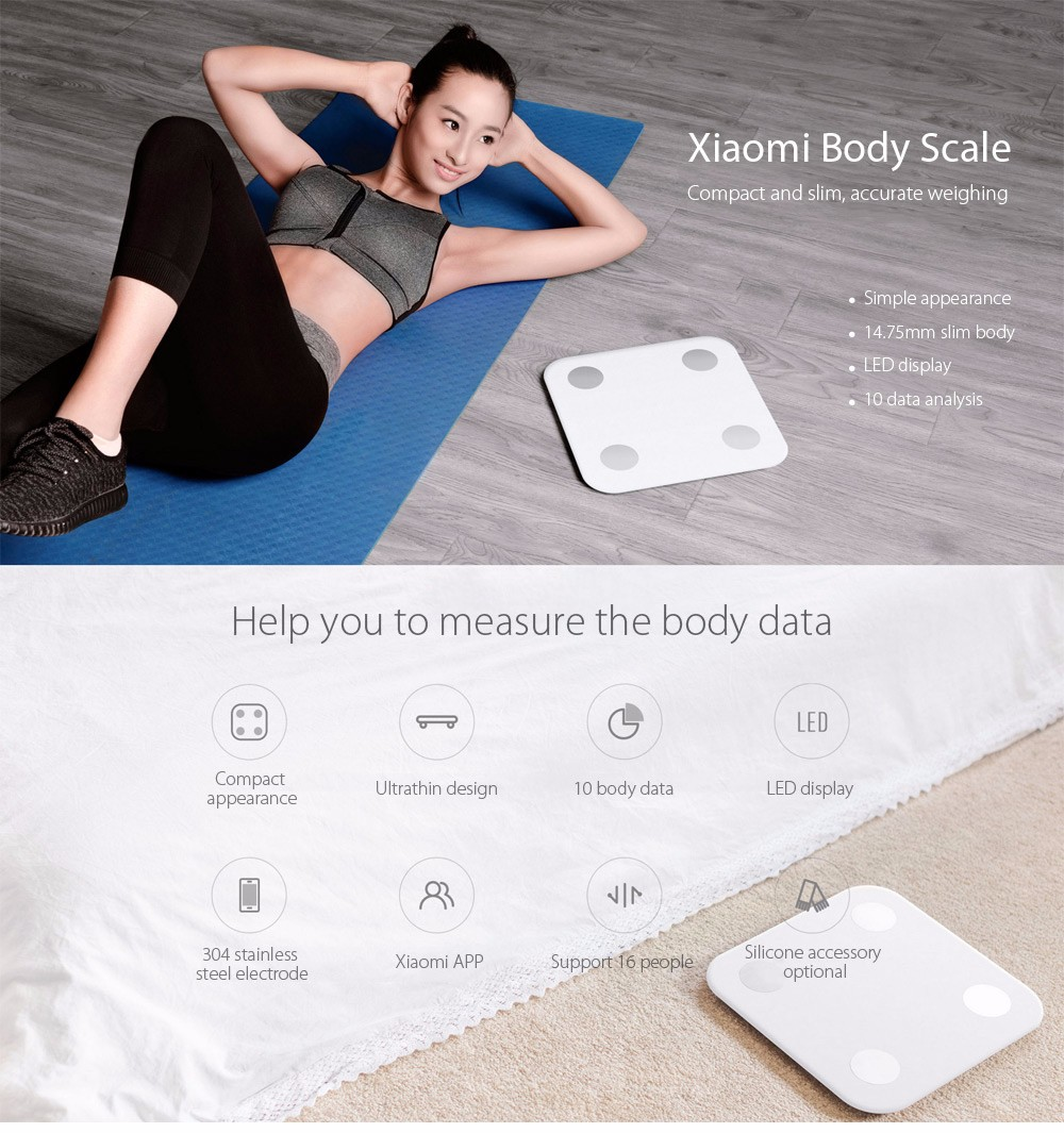 Xiaomi XMTZC02HM Bluetooth 4.0 Body Health Scale Smart Digital Personal Weighing Tool- White NORMAL VERSION